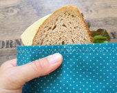Beeswax bread bag quot point landing quot , 17 x 24 cm, great beeswax bag with eco Tex cotton and organic beeswax, reusable lunch bag
