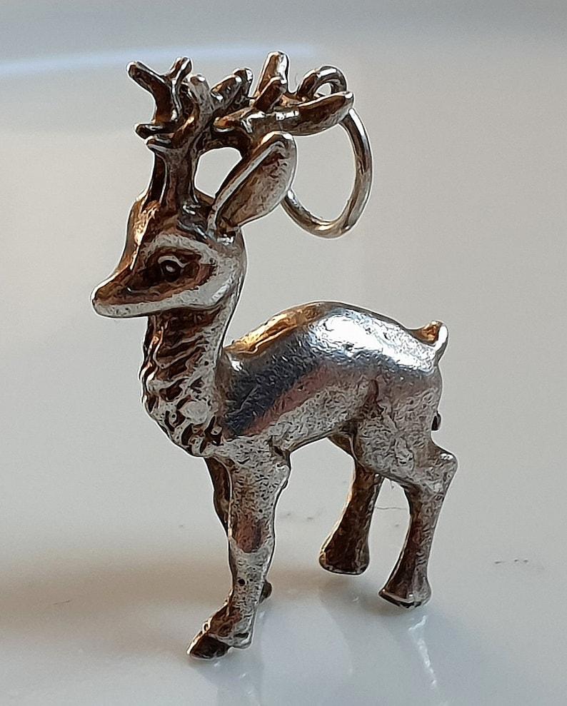Vintage silver Reindeer Charm Sterling silver Deer charm