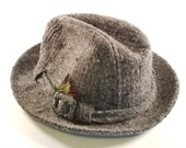 Vintage Stetson Mens 7 1 8 Grey Plaid Wool Fedora hat with feathers and Stetson pin - packaged and ready to ship