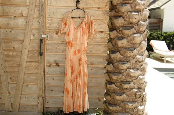 Vintage 1950's Peach floral floor length dress.