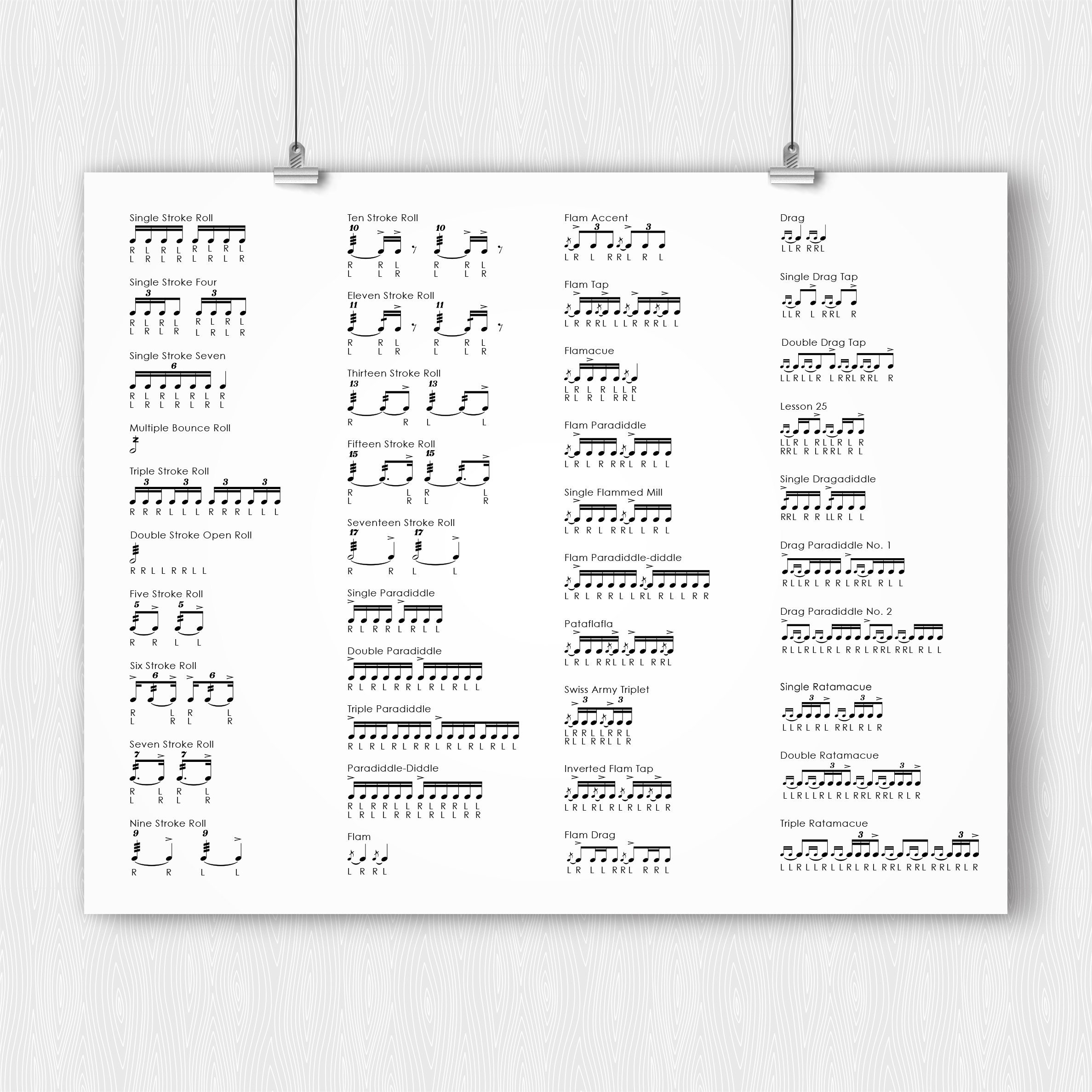 photograph about Printable Drum Rudiments named PRINTABLE - 40 Drum Rudiments