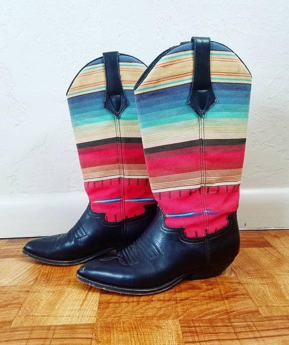 Seychelles Cowboy Cowgirl Boots Colorful Striped V