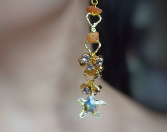 Autumn leaves statement earrings, with raw amber, Swarovski crystals, very glam!