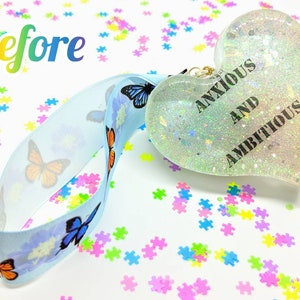 chunky heart resin hanging ornament with skull and rose ribbon mental health I Don/'t Look Sick UV colour changing chronic illness