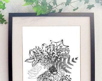 Hand poster and flowers hands flowers print bouquet