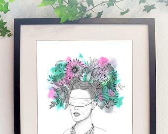 Blurry portrait flowers print bouquet blind girl