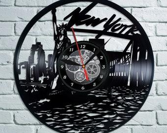 Birthday Gift Idea For Boy New York Retro Art Vinyl Record Wall Clock United States Travel Room Decor Modern LP City