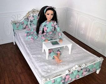 1//échelle 6 Poupée Taille Velours Noir en Bois Lit Double Pour Poupées Barbie