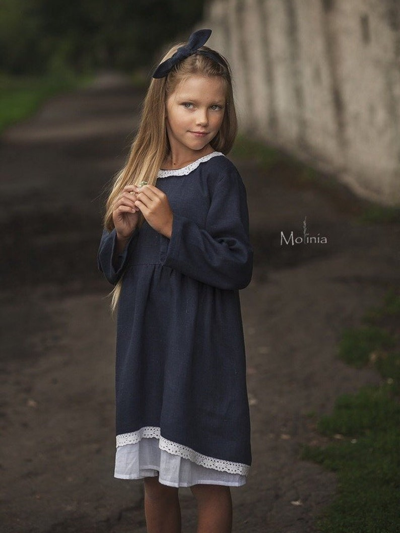 Vegan navy blue dress with lace for girls in the style of boho.
