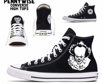 f677c0d97d32 pennywise Converse all stars custom printed high tops art classic horror  slasher clown