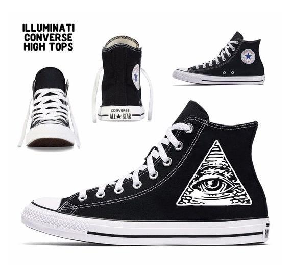 Illuminati Converse toutes les étoiles personnalisé personnalisé personnalisé imprimé hauts sommets art horreur classique conspiration tout argent de reptiliens seeing eye c21687