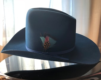0d66b8a13df Rare Blue Cowboy Hat Miller Bros. Original Box Gorgeous one-of-a-kind
