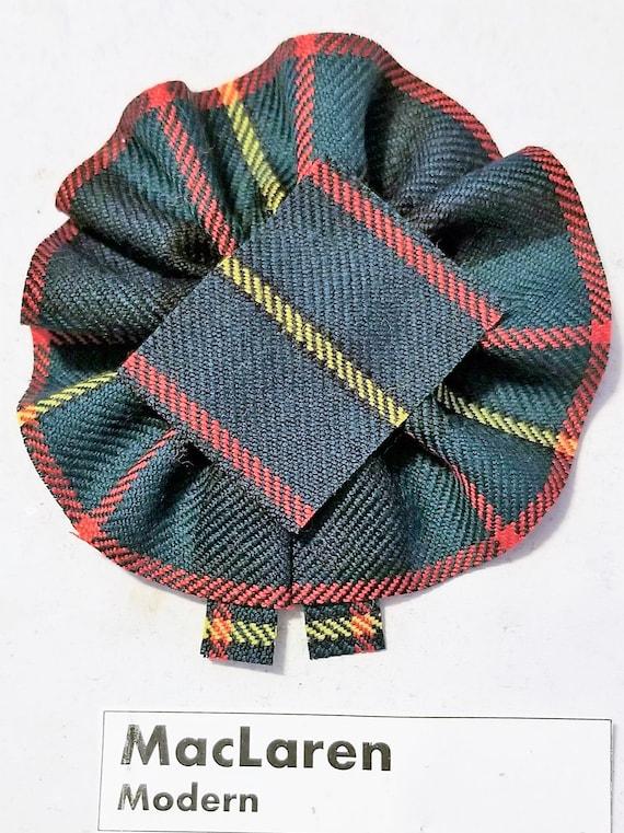 broach or family clan badge. Wool Tartan Rosette to display pin Henderson Ancient Tartan as Scottish Blossom