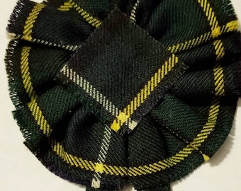 MacNeill of Barra  Modern Tartan as Scottish Blossom, Wool Tartan Rosette to display pin, broach or family clan badge.