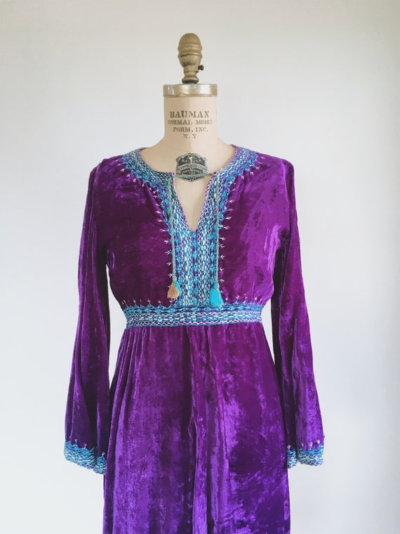 Purple Velvet Embroidered Boho 60s Gypsy Dress