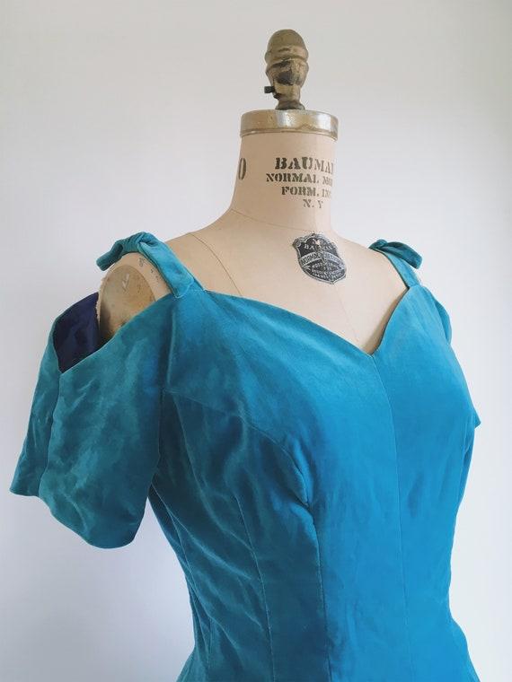 Blue Princess Velvet Dress 1950s - image 4