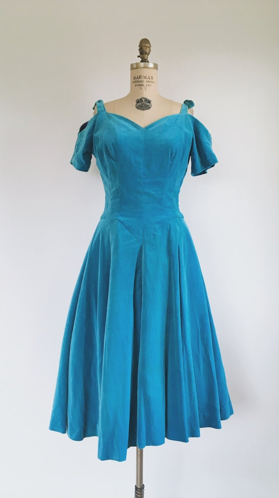 Blue Princess Velvet Dress 1950s