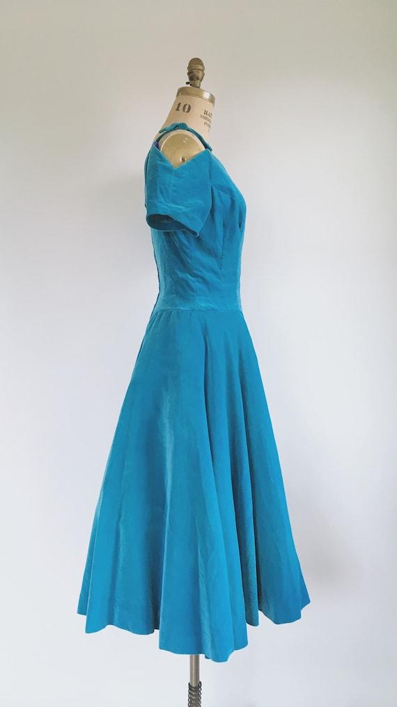 Blue Princess Velvet Dress 1950s - image 5
