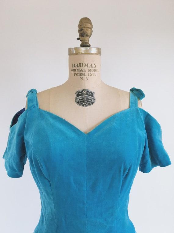 Blue Princess Velvet Dress 1950s - image 2