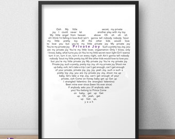 Yesterday Black Heart Quote Song Lyric Art Music Quote Gift Poster Print