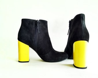 f47de1810d0f Peruvian handmade ankle boot with bright yellow heel