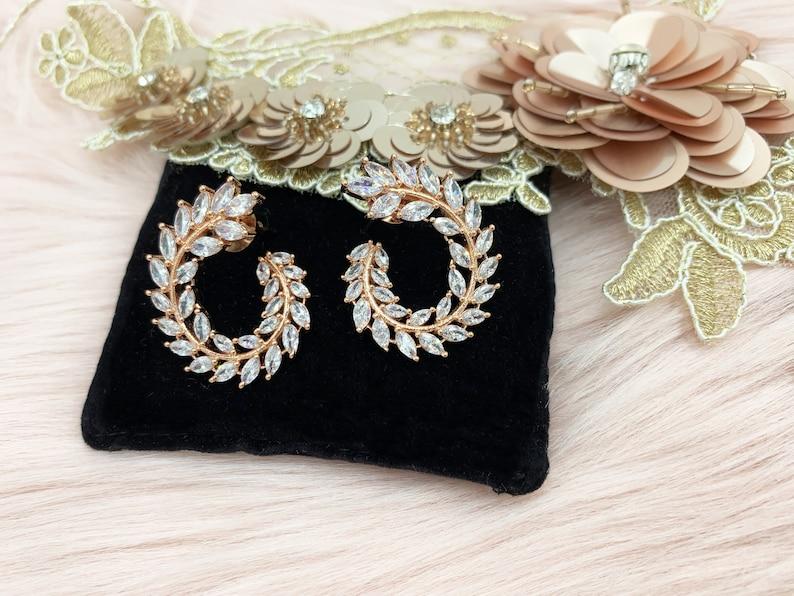 Rose Gold CZ Earrings Rose Gold Cubic Zirconia Earrings CZ Stud Earrings Rose Gold American Diamond Earrings CZ Bridal Earrings