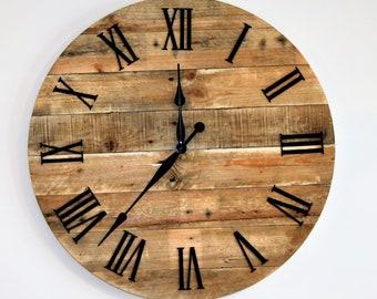 Large Rustic Wall Clock Etsy