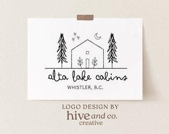 cabin logo, cottage logo, house logo, rustic logo, nature logo, premade logo, real estate logo, photography logo, minimalist logo, branding