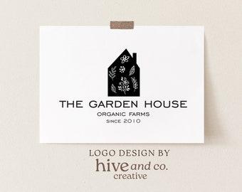 house logo, home logo, cottage logo, cabin logo, farmhouse logo, gardening logo, premade logo, farmers logo, farm logo, minimalist logo