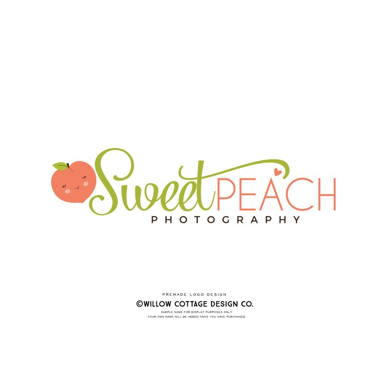 peach logo, fuit logo, premade logo, farmers market logo, pre made logo,  kids logo, health food logo, baby logo, children's logo, branding
