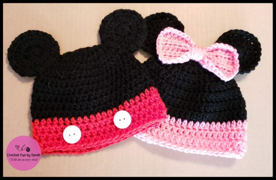 Crochet Mickey or Minnie Mouse Hat