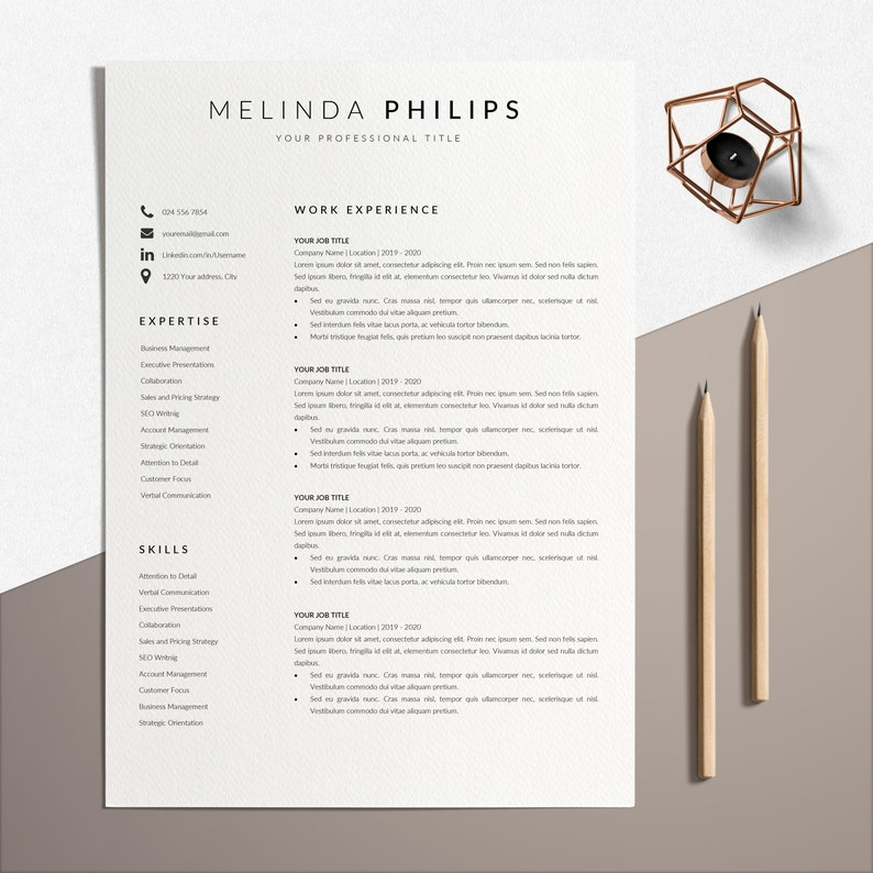 Simple CV Template Professional CV Layout Resume Template Minimalist Resume Template Instant Download Professional CV Template Word