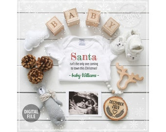 1fb438ce3e3dc Christmas Pregnancy Announcement Digital Baby Announcement December 2019,  Personalized Social Media Baby Reveal Santa Winter Gender Neutral