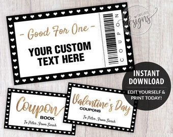Coupon Template Christmas Editable Coupons, for Dads Moms Kids Teens Custom Personalized, Birthday Coupon Book Printable Instant Download