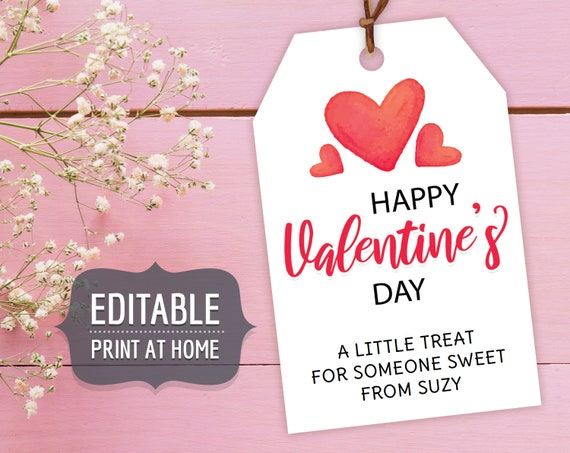 Valentine's Printable Gift Tags Editable Personalized