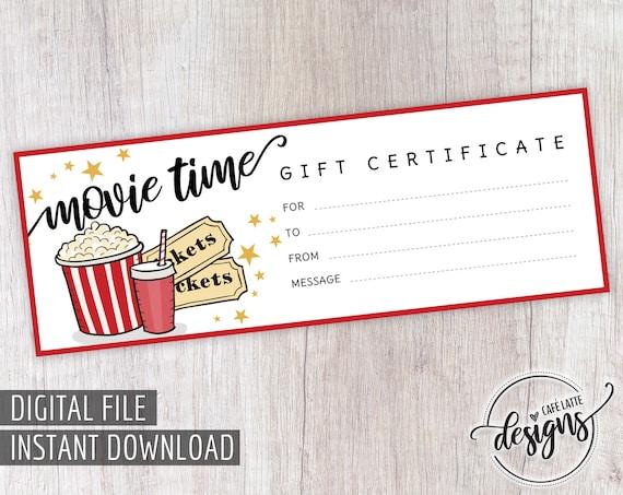 movie gift certificate birthday gift certificate printable