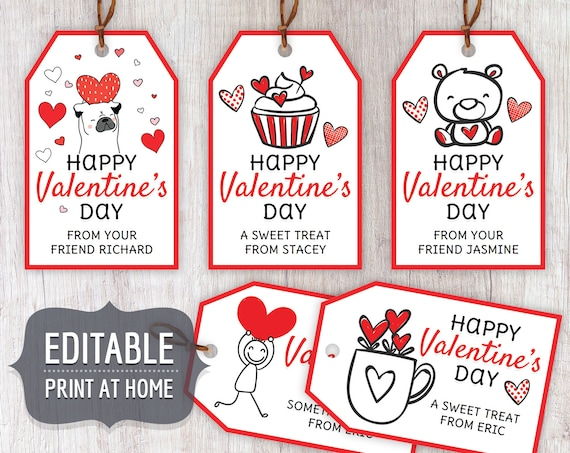 Valentine's Kids Editable Gift Tags Valentines Day