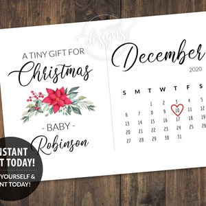 Winter Christmas Digital Editable Corjl Father/'s Day Baby Announcement to husband Pregnancy Announcement Printable Due Date Calendar Card