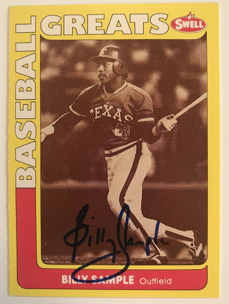 Texas Rangers Billy Sample Signed Autographed 1990 Swell Greats Baseball Card