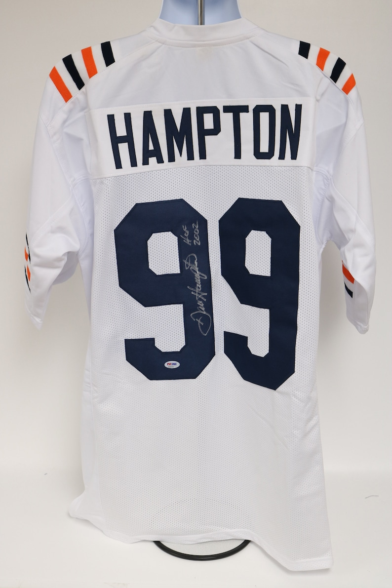 PSADNA COA Dan Hampton Signed Autographed HoF 02 Chicago Bears White Football Jersey