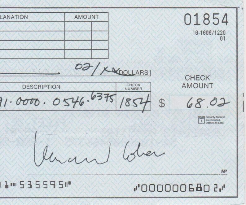 Leonard Cohen Signed Autographed Half Personal Check