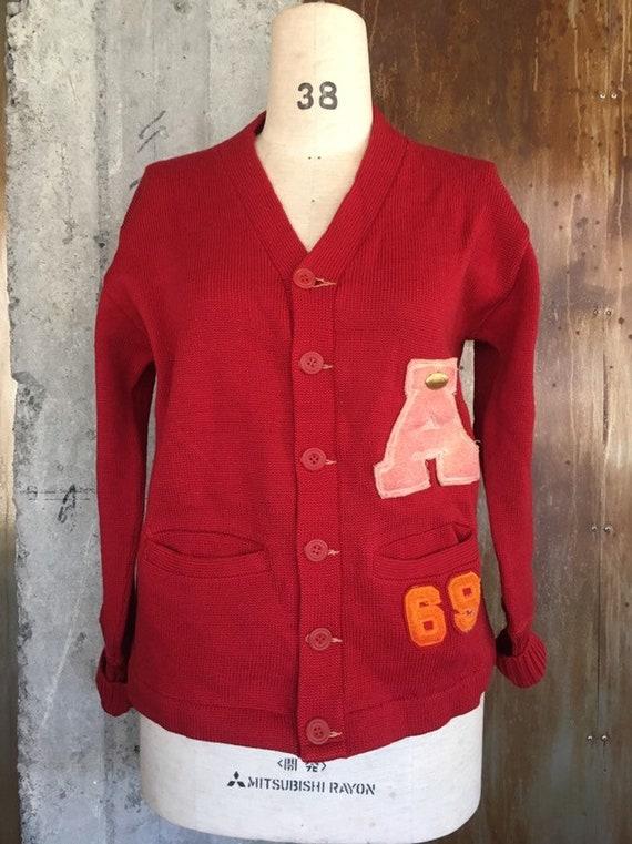 Vintage 1960s letterman cardigan varsity sweater f
