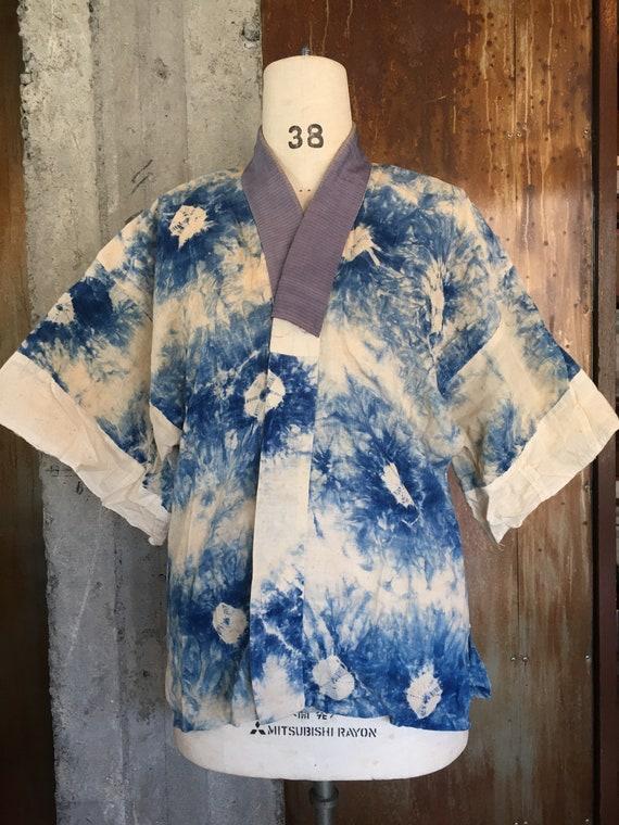 Vintage 30s Japanese kimono underwear indigo tie d