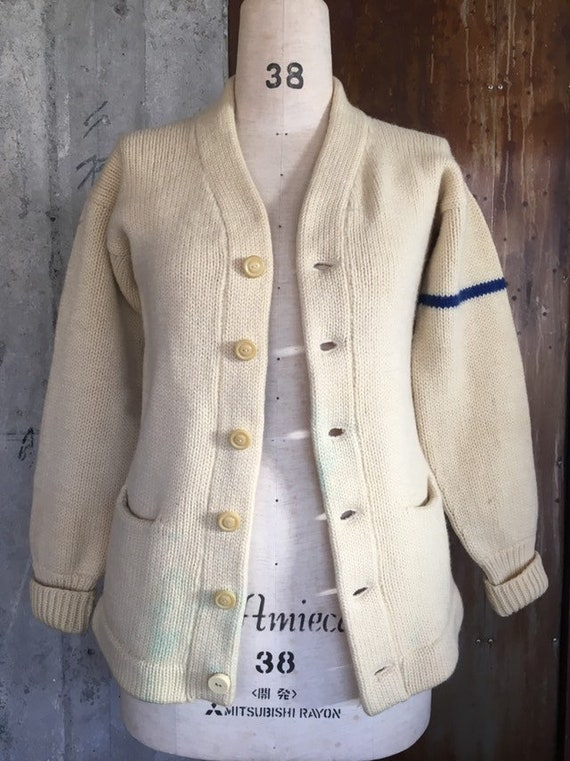 Vintage 1930s heavy wool varsity cardigan sweater