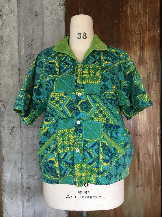 50s vintage towel lined cabana tiki surfer shirt