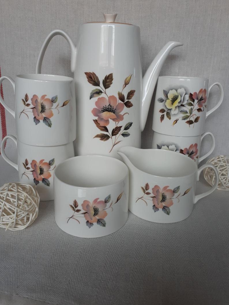 Flower Pattern Porcelain Tea//Coffee Set Teapot Coffee Mug Creamer Cup Sugar Bowl