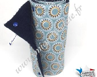 e9169bdce152 Essuie-tout lavable, coton imprimé Malawa turquoise, éponge bleu nuit.