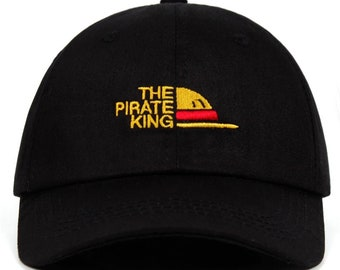 One Piece The Pirate King Anime Style Dad Hat Japanese Type Cap Black and Beige Color