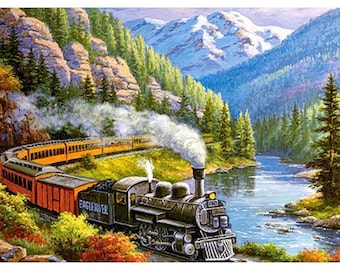 Image result for steam passenger train mountain painting