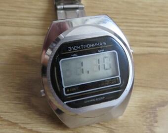 338187fc2d9a Watch Elektronika LED Soviet Russia USSR. Vintage watch digital Elektronika  russian quartz watch USSR